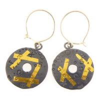 Oxidised keum boo circle earrings one